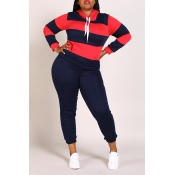Lovely Casual Striped Navy Blue Plus Size Two-piec