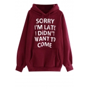 Lovely Casual Letter Printed Wine Red Sweatshirt Hoodie