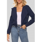 Lovely Casual Zipper Design Navy Blue Short Coat