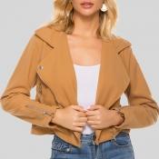 Lovely Casual Zipper Design Khaki Short Coat