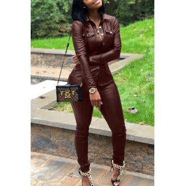 Lovely Street Turndown Collar Buttons Design Wine Red Two-piece Pants Set