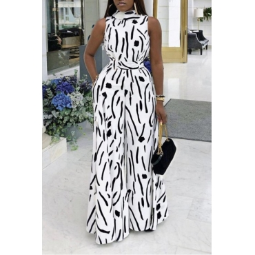 Lovely Trendy Printed Loose Black And White One-piece Jumpsuit
