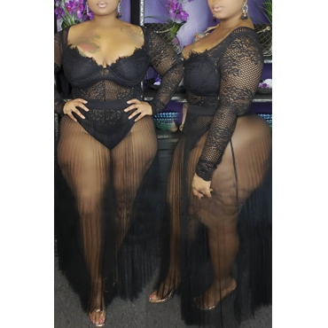 Lovely Sexy See-through Black Plus Size Two-piece Skirt Set
