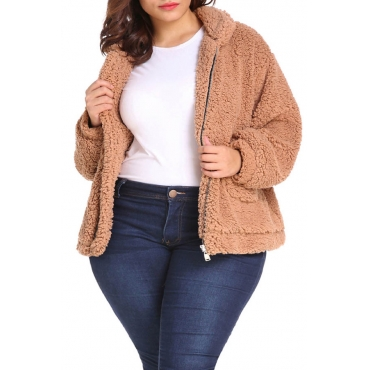 Lovely Casual Turndown Collar Zipper Design Light Camel Plus Size Coat