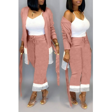 Lovely Casual Patchwork Light Pink Two-piece Pants Set