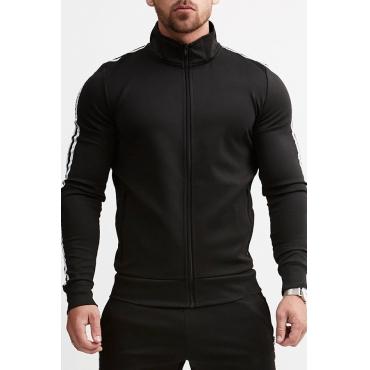 Lovely Casual Mandarin Collar Zipper Design Black Two-piece Pants Set