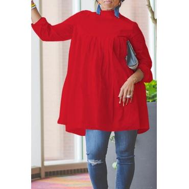 Lovely Work Ruffle Design Red Blouse