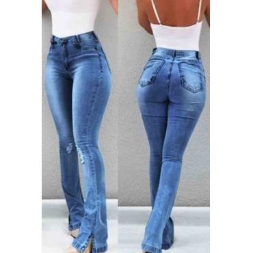 Lovely Trendy Skinny Slit Royal Blue Jeans