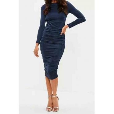 Lovely Party Ruffle Design Dark Blue Knee Length Prom Dress