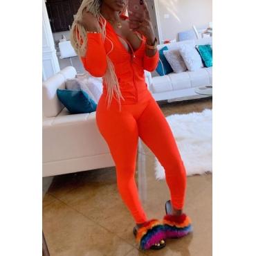 Lovely Casual Zipper Design Basic Orange Plus Size Two-piece Pants Set