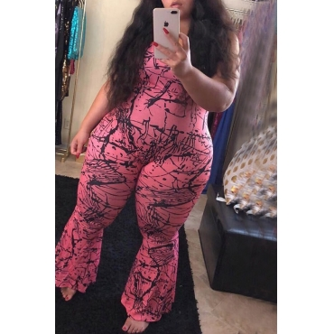 Lovely Casual Sleeveless Printed Rose Red Plus Size One-piece Jumpsuit