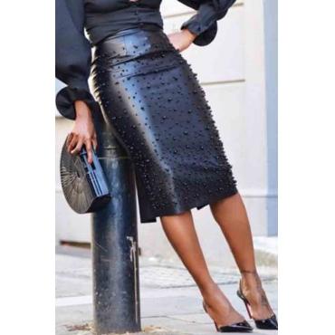 Lovely Work Nail Bead Design Black Knee Length Sheath Skirt