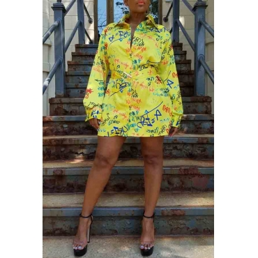 Lovely Casual Turndown Collar Printed Yellow Mini Dress