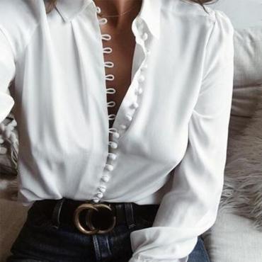 Lovely Trendy Turndown Collar Buttons Design White Blouse