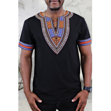 Lovely Casual Patchwork Black T-shirt