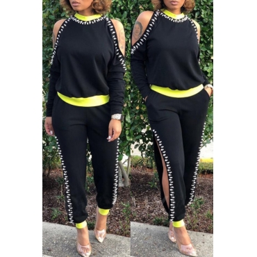 Lovely Street Patchwork Black Two-piece Pants Set