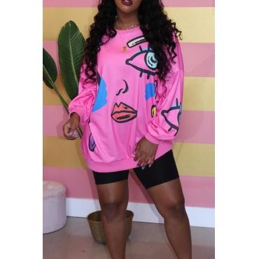 Lovely Casual Printed Pink Sweatshirt Hoodie