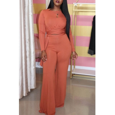 Lovely Casual Knot Design Jacinth Two-piece Pants Set
