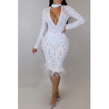 Lovely Sexy V Neck Patchwork White Knee Length Prom Dress(Without Lining)