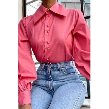 Lovely Work Turndown Collar Pink Blouse