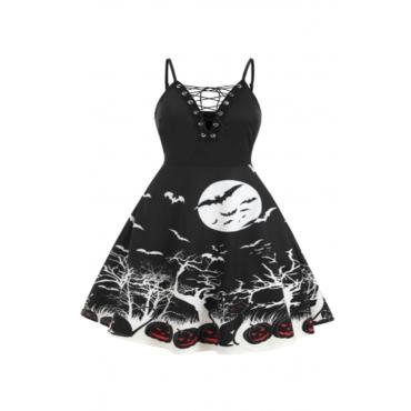 Lovely Hallowmas V Neck Printed Black Knee Length Dress