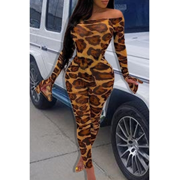 Lovely Sexy Skinny Leopard Printed One-piece Jumpsuit