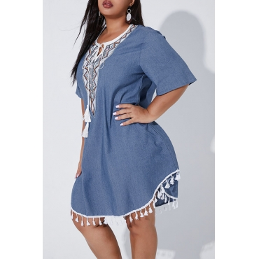 Lovely Casual Tassel Design Blue Plus Size Mini Dress