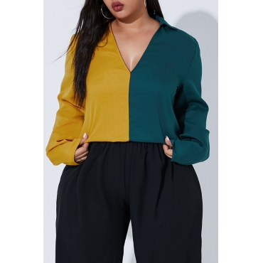 Lovely Casual Patchwork Green Plus Size Blouse