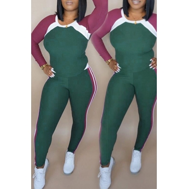 Lovely Casual Patchwork Green Two-piece Pants Set