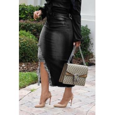 Lovely Casual Broken Holes Slim Black Denim Mid Calf Skirts