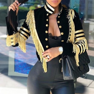 Lovely Casual Tassel Design Black Jacket