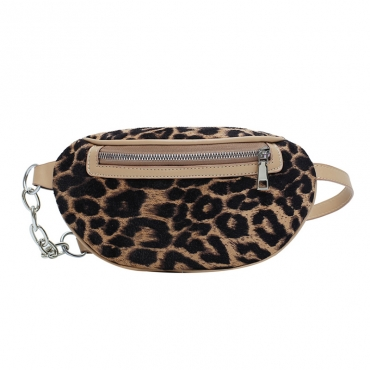 Lovely Chic Leopard Printed Khaki Messenger Bag