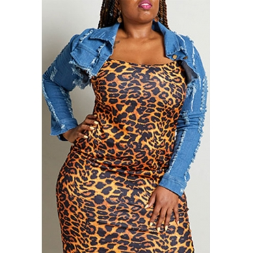 Lovely Trendy Turndown Collar Blue Plus Size Coat