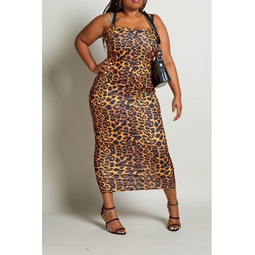 Lovely Sexy Spaghetti Straps Leopard Printed Ankle Length Sheath Plus Size Dress