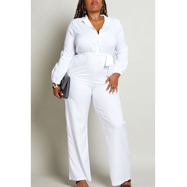 Lovely Work Turndown Collar White Plus Size One-piece Jumpsuit