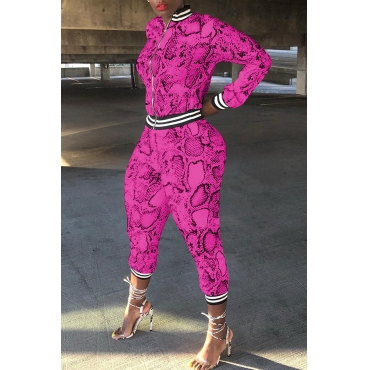 Lovely Casual Patchwork Snakeskin Printed Rose Red Two-piece Pants Set
