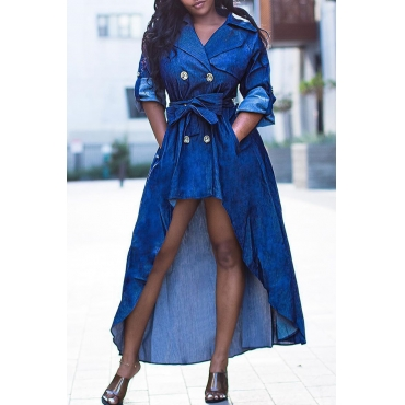 Lovely Casual Asymmetrical Dark Blue Ankle Length Dress