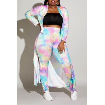 Lovely Casual Gradual Change Printed Multicolor Plus Size Two-piece Pants Set
