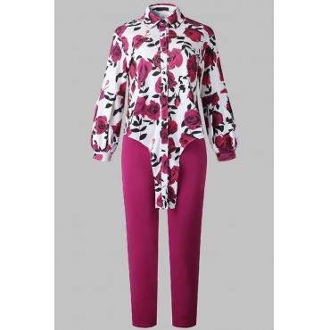 Lovely Casual Floral Printed Rose Red Plus Size Two-piece Pants Set