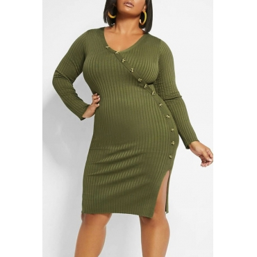 Lovely Casual Buttons Design Blackish Green Knee Length Plus Size Dress