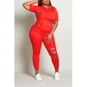 Lovely Leisure Hollow-out Red Plus Size Two-piece Pants Set - $14.49