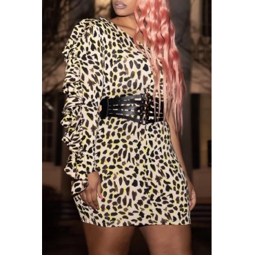 Lovely Chic Leopard Printed Mini Dress