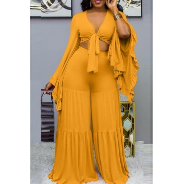 Lovely Trendy V Neck Loose Yellow Two-piece Pants Set