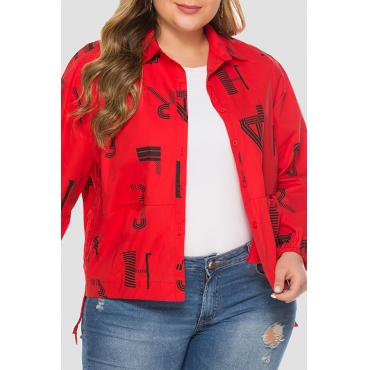 Lovely Casual Turndown Collar Printed Red Plus Size Jacket