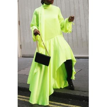 Lovely Casual Turtleneck Asymmetrical Green Floor Length Dress