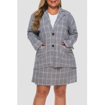 Lovely Trendy Turndown Collar Grid Printed Grey Plus Size Two-piece Skirt Set