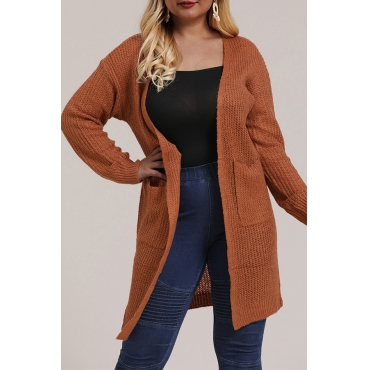 Lovely Casual Pocket Patched Brown Plus Size Coat