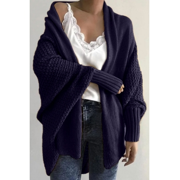 Lovely Batwing Sleeve Deep Blue Cardigan