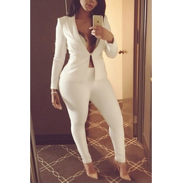 Lovely Stylish Turndown Collar Long Sleeves White Polyester Two-piece Pants Set