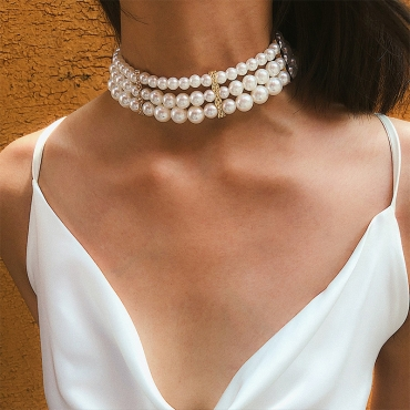 Lovely Trendy Layered White Necklace
